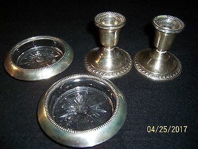 Lot of Antique Sterling Silver, 2 Candle Holders 2 Coasters
