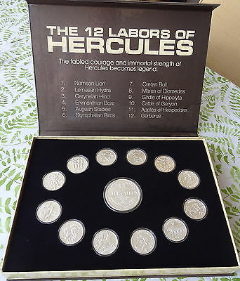 12 Labors of Hercules Complete Set 17 oz 999 Fine Silver with Display * Ebay Bux