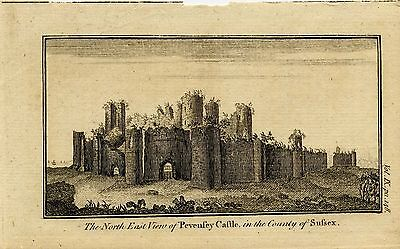 1765 Antique Print of Pevensey Castle,  Sussex