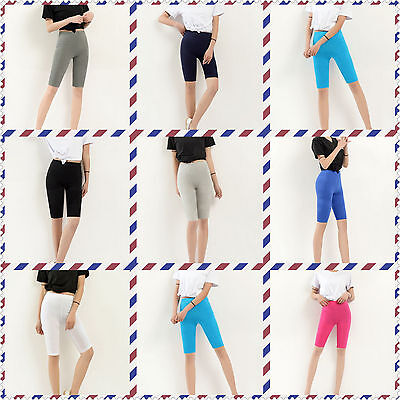 Cotton Leggings 1/2 Length Over-Knee Shorts Active Sport Dance Cycling UK 6-22