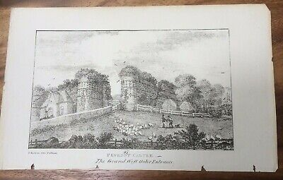 1829 Print of Pevensey Castle,  Sussex