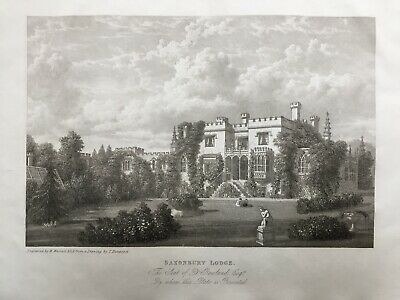 1835 Antique Print of Saxonbury Lodge, Frant, Sussex after Thomas Henwood