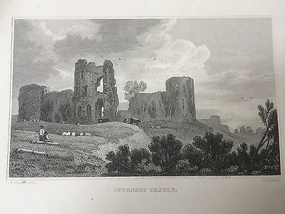 1836 Print of Pevensey Castle,  Sussex
