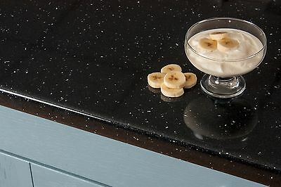 Black Sparkle Andromeda Laminate Kitchen Worktops 38mm, Edging Included