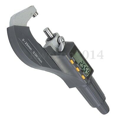 Electronic Digimatic Micrometer Professional 0-25mm Outside 0-1''/0.00005'' LCD