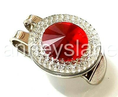 anneys ~ GOLF  BALL  MARKER plus Hat clip- * resin rhinestone - clear/ red * ~