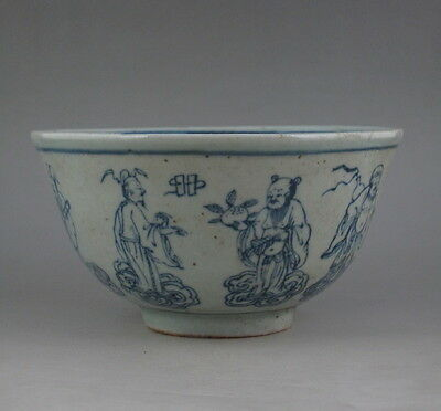 Old Chinese Blue And White Porcelain 8 Immortals Bowl