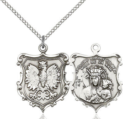 925 Sterling Silver Our Lady Czestochowa Virgin Mary Medal Necklace Poland