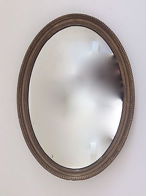 ANTIQUE Shabby Late Victorian GILT Gesso Wooden OVAL MIRROR, Hallway Bedroom