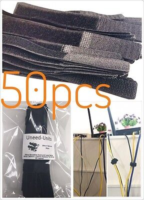 Pack of 50 Cable Cord Tie Strap Reusable Hook and Loop Tape 180mm x 20mm black