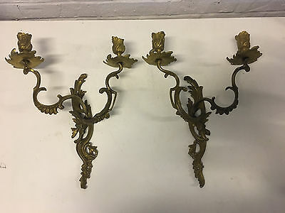 Vintage Gilt Metal Pair of Louis XV Style 2 Light Candle Sconces