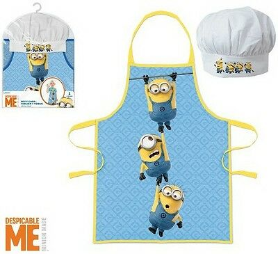 Childrens Kids Minions 2 Piece Cook Baking Gift Chef Set Includes Apron And Hat
