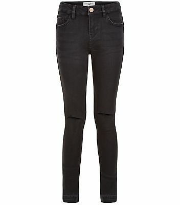 New Look Girls 915 Teens RIPPED Skinny Jeans Drop Raw Hem Black Years 9 - 15