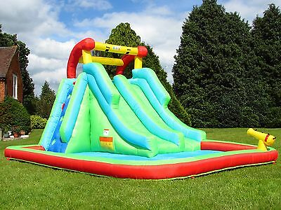 BeBop Neptune Towers Kids Inflatable Bouncy Castle Water Slide with Splash Pool