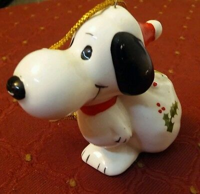 Vintage 1958 Peanuts Snoopy Santa Ceramic Christmas Ornament - Japan