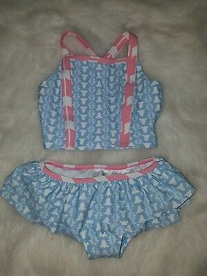 NWOT Hanna Andersson Baby Girls Two Piece Swimsuit Bikini Size 80 18-24 Month