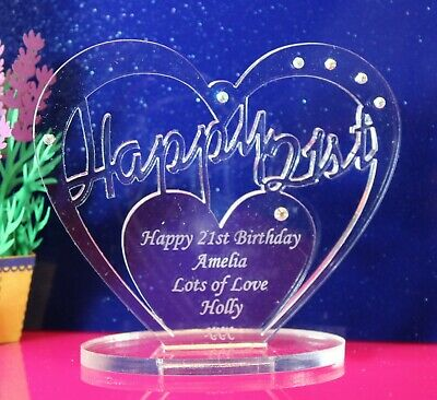 Personalised 21st Birthday Gift Heart with message -  Free Standing Keepsake