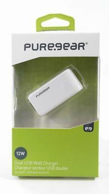 New OEM PureGear 12W 2.4A White Dual USB Port Wall Charger Adapter