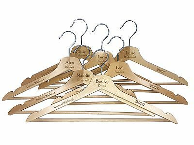 Personalised Engraved Wedding Wooden Coat Hangers, Any Text, Any Font
