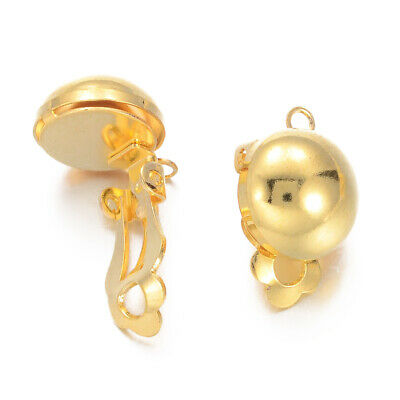 5pcs Gold Plated Brass Ball Clip-on Earring Findings 19x12x11mm Non-pierced Ears