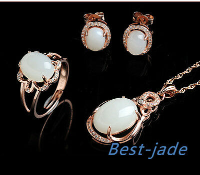 Cert Hetian White Jade Nephrite 925 silver Jewelry set Wedding anniversary ring