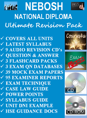 NEBOSH National Diploma Revision Pack 1 x CD ROM + 9 AUDIO CD's *PASS 1st TIME!