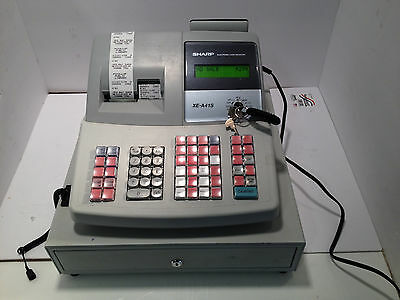 Sharp XE-A41S Electronic Cash Register W/Keys USED TESTED WORKING