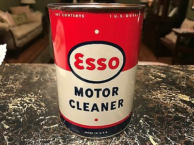 original 1950s ESSO FULL One Quart MOTOR CLEANER METAL Oil Can only one on ebay