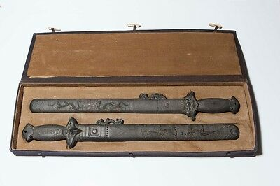 Rare! Inscribed Chinese Swords-19C Inkstones - A Pair - 17.5 Inches Long & Vgc