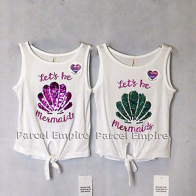 The Amazing BRUSH SEQUIN Vest Reversible LET'S BE MERMAIDS Shell Girls Top Tee