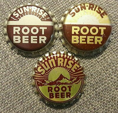 3 different SUNRISE ROOT BEER soda bottle caps unused cork