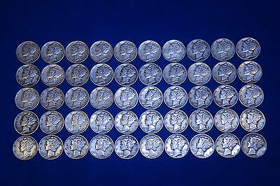 50 *Circulated* SILVER MERCURY DIMES 90% Coins $5 Face Value (1916-45) One Roll