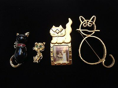 Cat Pin Brooch Lot Unsigned And Signed 4 Pieces