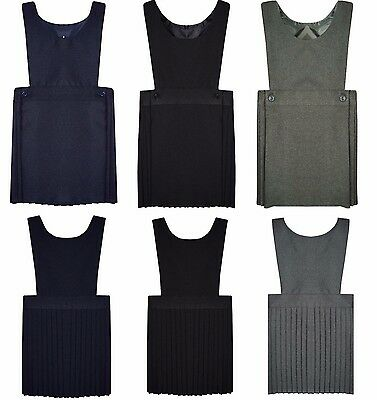 New Kids Girls Wrap Over Pleated Pinafore Bib Dress School Uniform Ages 2-16