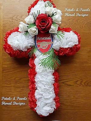 Artificial Silk Flower Arsenal Football Club Funeral Cross Wreath Red White