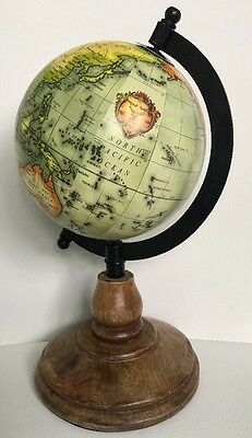 Desk Globe Wooden Stand Vintage Style Quirky