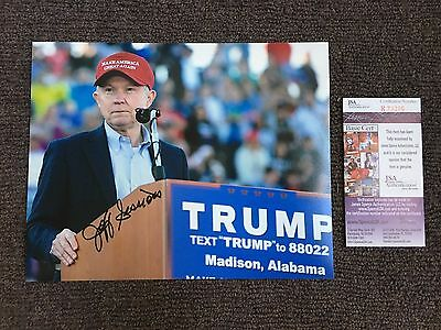 ICONIC SIGNED 8x10 Jeff Sessions w/ JSA COA-President Trump Attorney General  #1