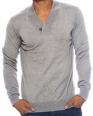 True Rock Mens VNeck Shawl Collar Knit Shirt Cotton Sweater Pullover One Button