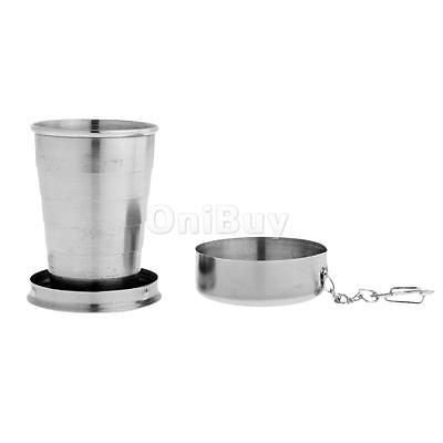 Stainless Steel Cup Folding Pocket Picnic Collapsible Cup with Keychain Outdoor