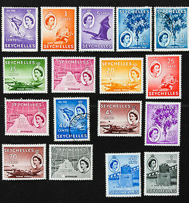 SEYCHELLES - SG174-184 Queen Elizabeth II 1954-61. 13 Mounted Mint 2 Used.