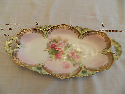 R. S. Prussia Oval Dish with Pink Roses 1-1