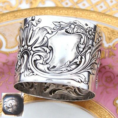 "Antique French Sterling Silver 2"" Napkin Ring, Ornate Raised Floral Decoration"