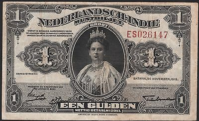 Netherlands Indies 1 gulden 1919 short signature, Muntbiljet, VF, Pick 100