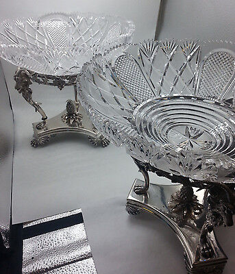 Pair of Silverplate and Cut Crystal Goat Head Epergne