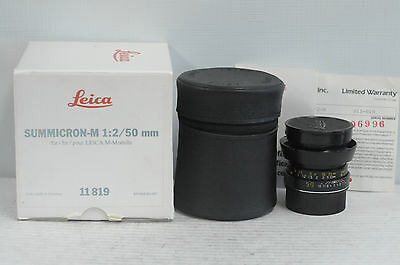 Leica Summicron-M 50mm F2 Lens with Cap, Case, Hood and Box