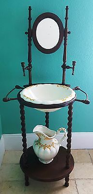Vintage Wash Stand With Pitcher, Basin, mirror and candle holders.