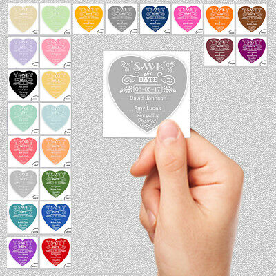 Save the Date or Evening Wedding Magnet Cards Envs 6x6cm Heart on WHITE SQUARE