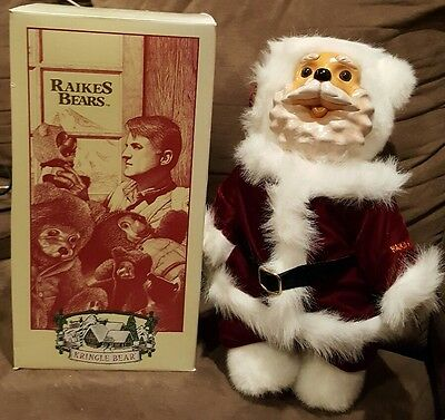 "Robert Raikes Kringle Bear Christmas 14"" Wood & Plush NIB"