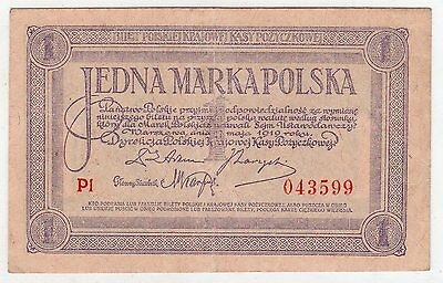 High End XF POLAND 1919 ISSUE 1 MARKA SCARCE BANKNOTE P-19