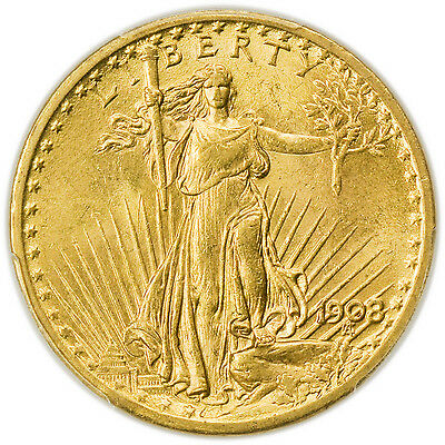 1908 $20 St. Gaudens No Motto Gold Double Eagle PCGS MS-63 Coin [3063.40]